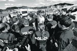 Protestaktion Fahrende Kleine Allmend